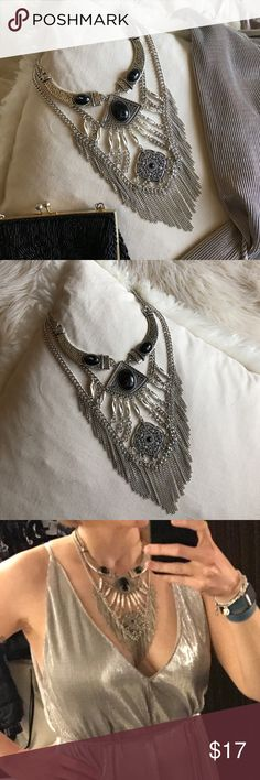 """H&M - Fringe Onyx statement necklace ⛓Bold and feisty multilayer statement necklace with onyx styled stones and fringe accent. ⛓28"""" at longest point, with 3"""" extender. H&M Jewelry Necklaces"""