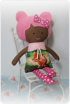 Cath's Cottage Handmade Doll, Toy, Softie, Bambi, Brown Skin