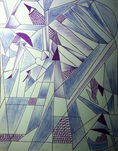 Unglorified Cubism, 2013, By MCX, Ink, ColorPencil and SoftPastel medium