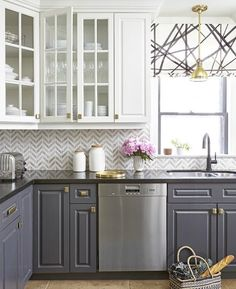 Gray kitchens ideas - Feasby & Bleeks Design via House and Home, Gray Kitchen Ideas