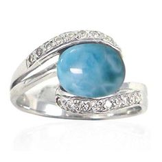Sterling Silver Ring with Oval Larimar and Round White CZ - Size Sterling Silver Ring with Oval Larimar and Round White CZ. Dimensions: Height x Width Larimar x - CZ x 18 . Larimar Rings, Larimar Jewelry, Gemstone Rings, Silver Rings Handmade, Sterling Silver Rings, Cubic Zirconia Rings, Stone Jewelry, Jewelry Rings, Crystals And Gemstones