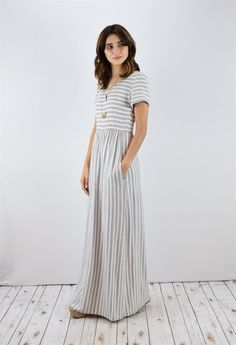 Striped Short Sleeve Maxi Dress | S-XL