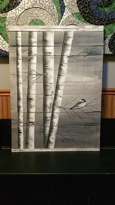 Gray Pallet Art White Birch Painting LARGE Distressed
