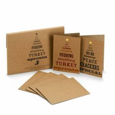 Christmas cards: Christmas gift guides cards: manilla cards