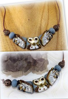 Owl Be Damend Lampwork Glass Beads Laurie Donnette