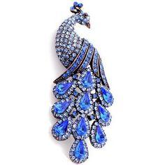 Sapphire Blue Austrian Crystal Vintage Style Peacock Brooch Pin #jewelry #sapphire #peacock #brooch #amazon