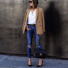 Sasha Simon + double breasted camel blazer + open white button down + distressed denim skinny jeans + elegant work-ready style Brands not specified. Blazer Outfits, Blazer Fashion, Casual Outfits, Camel Blazer, Blazers, Casual Chic, Smart Casual, Everyday Fashion, Casual Looks