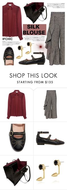 """""""Silk Blouse"""" by ifchic ❤ liked on Polyvore featuring Tanya Taylor, Rachel Comey, Boutique Moschino, Carven, Joomi Lim and contemporary"""