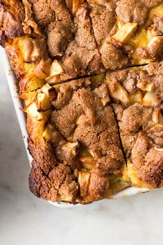 NYT Cooking: The beauty of a baked French toast casserole combines toasted challah with a nutmeg-flavored custard, which is then topped with a crunchy oat crumble. Brunch Dishes, Brunch Recipes, Breakfast Recipes, Breakfast Ideas, Eat Breakfast, Baked French Toast Casserole, French Toast Bake, Oat Crumble Topping, Christmas Breakfast