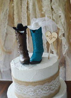Western cowboy boots wedding cake by MorganTheCreator on Etsy