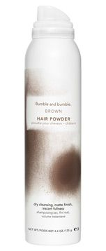 Bumble and Bumble Hair Powder is available in white, blonde, black, brown, and red. Most dry shampoos are only available in white which can look like dandruff in darker hair. This stuff lasts forever and gives great lift while absorbing oil and extending the life of your hairdo. A cool look for blondes is to use the brown to spray in roots to give a funky regrowth look.