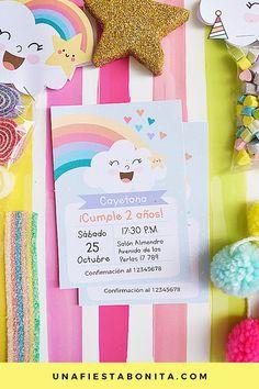Invitación para imprimir nubes y arcoiris #imprimibles #nubesyarcoiris #acoiris Rainbow Unicorn Party, Rainbow Birthday, Baby Birthday, Rain Baby Showers, Baby Boy Shower, Baby Shower Balloons, Birthday Invitations, Party Time, First Birthdays
