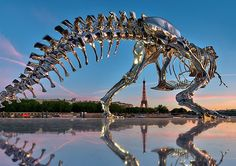 Chrome T-Rex Sculpture in Paris by Philippe Pasqua | Inspiration Grid | Design Inspiration