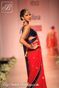Red saree with designer blouse #Indian