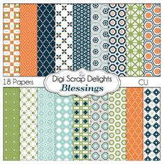 Blessings Digital Papers, Navy, Orange, Blue, Green Card Making, Photographers, Matches Project Life Bridgeport, Instant Download