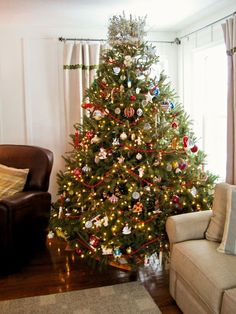 Colorful and large Christmas tree