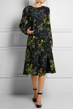 Marni|Floral-print wool and silk-blend dress long sleeves