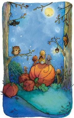 Under an Autumn moon. Halloween illustration by Lynn Gaines. Image Halloween, Halloween Art, Holidays Halloween, Halloween Printable, Happy Halloween, Halloween Painting, Child Draw, Painting & Drawing, Printable Cards