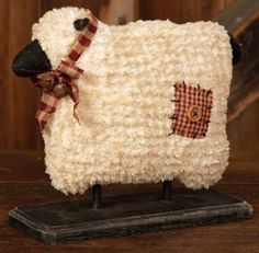 Charming country sheep on a wood base is a perfect Primitive addition. This Country Primitive accent would look wonderful in your home on a shelf, cupboard or table. Soft Chenille, Wood Base, and Home Country Primitive, Primitive Sheep, Primitive Folk Art, Primitive Crafts, Primitive Christmas, Christmas Crafts, Primitive Homes, Country Farmhouse, Country Homes