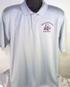 Adidas Mississippi State Bulldogs Mens Size Large Gray Golf Polo #adidas #PoloRugby #MississippiStateBulldogs