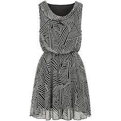 negro vestido de gasa sin mangas a rayas con cuello redondo de las mujeres sheinside® – USD $ 11.04