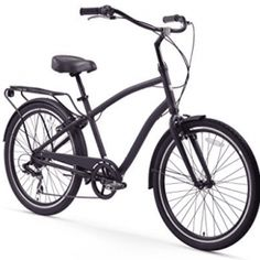 Sixthreezero 26 in. Mens EVRYjourney 7 Speed Sport Hybrid Cruiser Bicycle - Matte Black - The Sixthreezero 26 in. Mens EVRYjourney 7 Speed Sport Hybrid Cruiser Bicycle - Matte Black is up for any adventure. The innovative design gives riders. Beach Cruiser Bikes, Cruiser Bicycle, Mountain Bikes For Sale, Bicycle Maintenance, Cool Bike Accessories, Bike Reviews, Bike Seat, Harley Davidson Bikes, Cycling Equipment