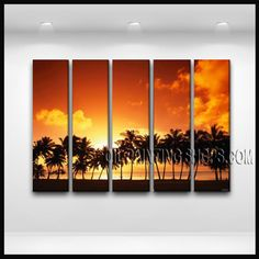 Stunning Contemporary Wall Art Artist Oil Painting Stretched Ready To Hang Hawaii Beach. This 5 panels canvas wall art is hand painted by E.Cheung, instock - $340. To see more, visit OilPaintingShops.com