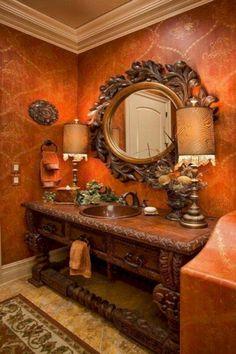 Tuscan bathroom design/Bentley Manor Custom Home Interior & Exterior Design Tuscan Bathroom Decor, Orange Bathroom Decor, Bathrooms Decor, Luxury Bathrooms, Bathroom Furniture, Furniture Sets, Bathroom Design With Wallpaper, Home Interior, Interior And Exterior