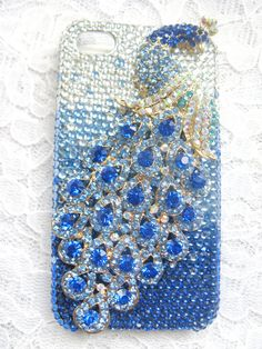 Blue Peacock Rhinestones Deco Den apple iphone 4 4G 4S by decoland