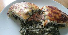 Zutaten    500 g Blattspinat, tiefgekühlt  150 g Feta-Käse  200 g Lachsfilet(s)  Salz und Pfeffer  Muskat  150 g Gouda  100 g Schm...