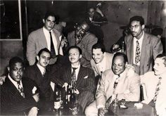 Fats Navarro, Charlie Parker, Max Roach and Coleman Hawkins with Cuban Jazz musicians, including Diego Iborra and Felo Hernandez. Photo by Nancy Villalobos.