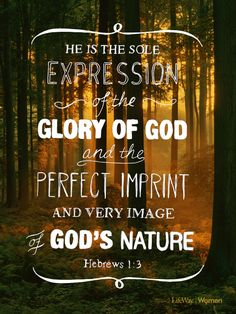 Who being the brightness of his glory, and the express image of his person, and upholding all things by the word of his power, when he had by himself purged our sins, sat down on the right hand of the Majesty on high; Hebrews 1:3 KJV