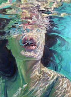 Woman in a pool Arte Hippy, Art Sketches, Art Drawings, Arte Indie, Reflection Art, Underwater Painting, Art Portfolio, Surreal Art, Art Sketchbook