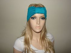 Teal Turban Headband jersey knit Woman Yoga by OtiliaBoutique, $15.00