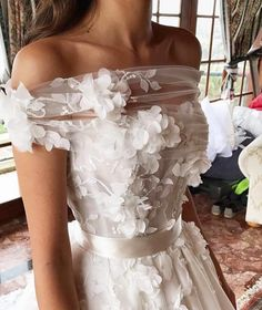 This off the shoulder haute couture wedding gown has beautiful flower art design embellished on the bodice. Have custom like this made to order in a price range you can afford. We also make realy close of haute couture for brides who love the coutu Applique Wedding Dress, Custom Wedding Dress, Dream Wedding Dresses, Bridal Dresses, Modest Wedding, White Dress For Wedding, Wedding Bridesmaids, Wedding Dress Arms, Lavender Wedding Dress