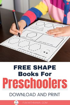 This free printable book of shapes is fun way for preschoolers to practice shape recognition. Students trace, draw color, and identify each shape. Homeschool Preschool Curriculum, Homeschool Supplies, Preschool Books, Preschool Activities, Shape Worksheets For Preschool, Shapes Worksheets, Create This Book, Shape Books, Learning Shapes