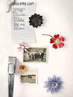 Instead of letting vintage brooches gather dust in your jewelry box, turn them into refrigerator magnets    Read more: Vintage Floral Brooch Magnet Craft Project - Country Living