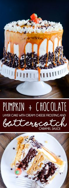 Pumpkin Chocolate Layer Cake with Cream Cheese Frosting and Butterscotch Caramel http://www.somethingswanky.com/pumpkin-chocolate-layer-cake-cream-cheese-frosting-butterscotch-caramel/?utm_campaign=coschedule&utm_source=pinterest&utm_medium=Keat%27s%20Eats&utm_content=Pumpkin%20Chocolate%20Layer%20Cake%20with%20Cream%20Cheese%20Frosting%20and%20Butterscotch%20Caramel