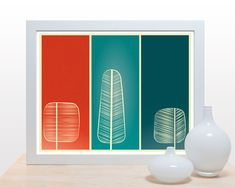 Mid Century Trees Print - 11x14 modern artwork wall decor poster print nature forest branches living room office kitchen red teal green. $27.00, via Etsy.