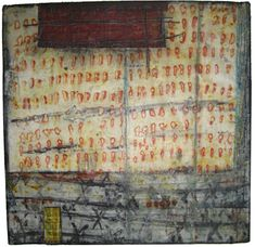 Jennifer Solon -  Battle Lines | Mixed media collage (textiles, encaustic wax, pigments): 20in. x 20in., 2011