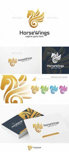 Horse Wings - Logo Template Vector EPS, AI Illustrator