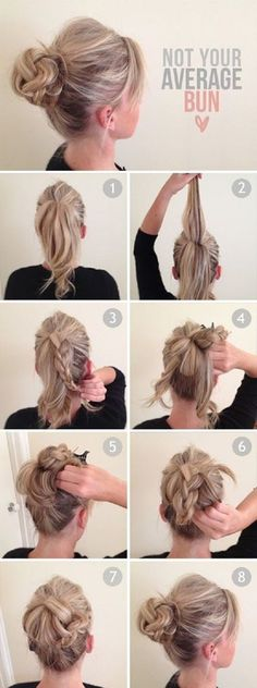 top half braided, messy bun. messy pony tail for long hair. not a good link, but this pic is good