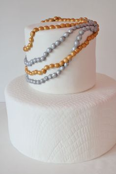 Gold and Silver Strand of Pearls Custom Cake Manhattan NYC