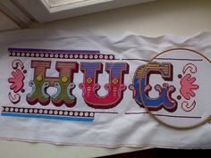 modern colourful cross stitch