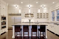 Paul Moon Design - kitchens - Niche Modern Bella Modern Pendant Light, Benjamin Moore Cloud White, white kitchen cabinets, painted kitchen c...