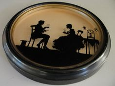 Vintage tea for two silhouette reverse painted on glass by BarnshopAntiques on Etsy