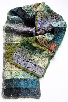 Crochet Squares Design SCARF Celtic Squares design hand crocheted by JenniferKristie - Crochet Motif Patterns, Granny Square Crochet Pattern, Crochet Blocks, Square Patterns, Crochet Squares, Granny Squares, Granny Square Scarf, Crochet Granny, Crochet Yarn