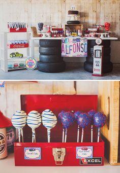 Vintage+Garage+Inspired+Adult+Birthday+Party