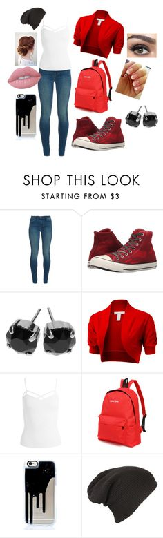 """RED"" by pinkrgirl16 ❤ liked on Polyvore featuring J Brand, Converse, L. Erickson, Sans Souci, Lime Crime and Essie"