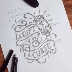 ✍ A Gift & A Curse' sketch. #lettering #typography #sketch #sketchbook #handdrawn #handwritten #handmade #brand #logo #design…